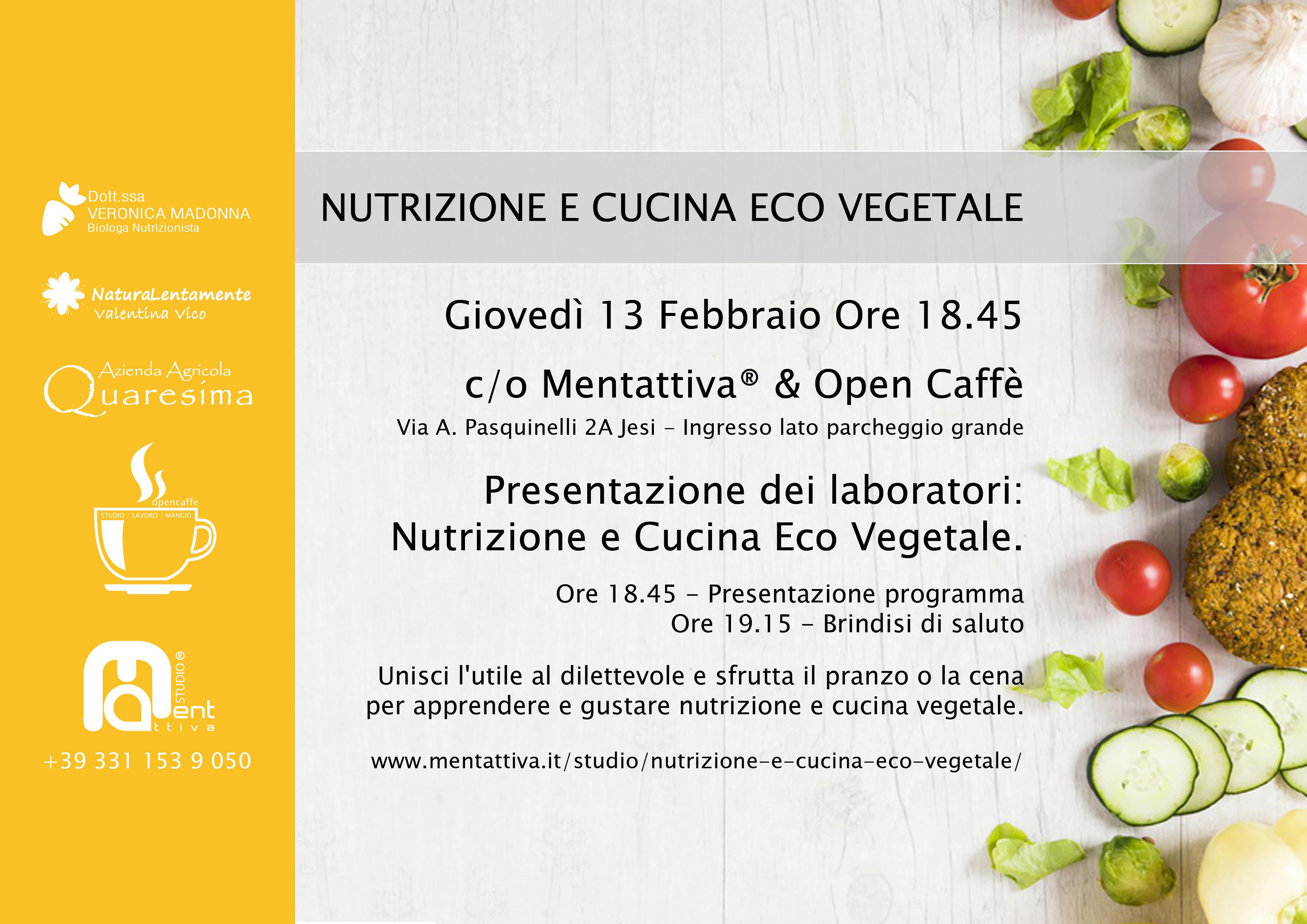 Flayer dell'evento Nutrizione e Cucina Eco Vegetale